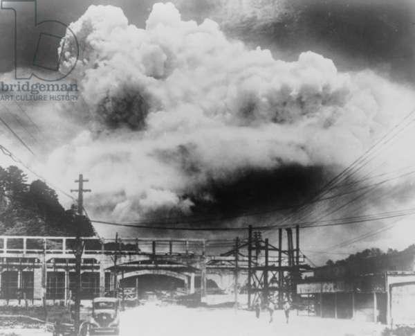 Japanese photo of the mushroom cloud of the atomic bomb blast in Nagasaki, Japan, Aug. 9, 1945