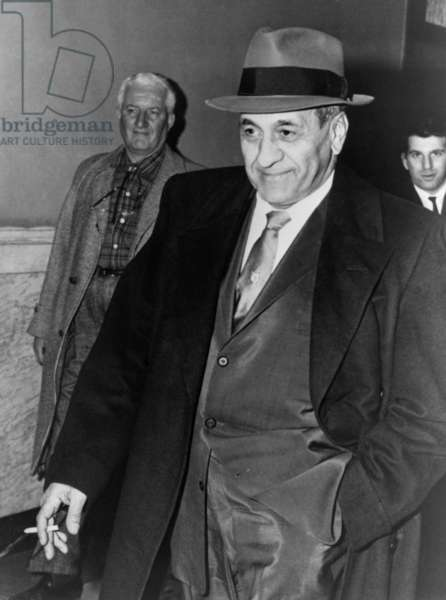 Tony Accardo, successor of Al Capone as boss of the Chicago mob, leaving Federal Building in Chicago after his conviction for tax evasion. In spite of the conviction, Accardo never spent a day in jail. Nov. 11, 1960