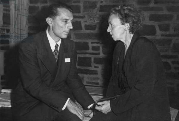 Frederick Joliot and his wife, Irene Curie, were collaborative physicists. They shared the 1935 Nobel Prize in Chemistry for their synthesis of new radioactive elements. James Lebenthal photo c. 1940s.