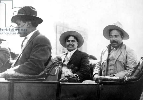Major Rudolpho Fierro [left, Villa's aid], Pancho Villa, April 1914