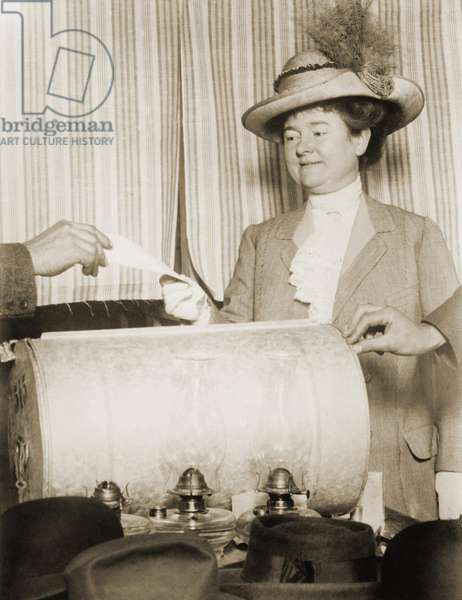 Annie Rolph, wife of San Francisco mayor James Rolph, voting in 1911