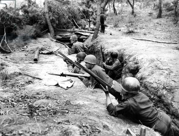 Korean War: American soldiers in the trenches, Korea, 1950. Courtesy