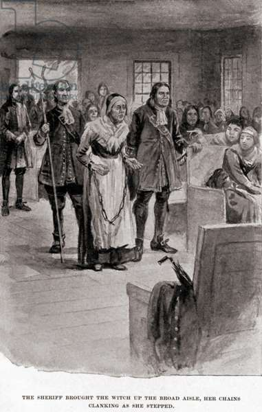 Salem Witch Trials. Elderly Rebecca Nurse in heavy chains after her conviction for witchcraft in June 1692. In spite of the petitions of many, an initial but then reversed 'not guilty verdict', she was hung on July 19, 1692