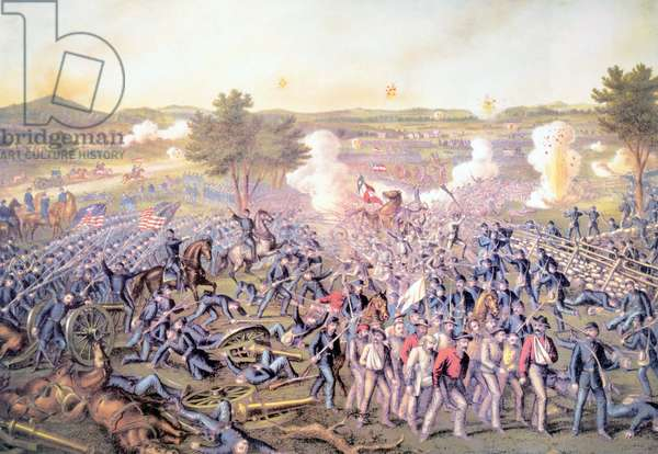 The Battle of Gettysburg, July 3, 1863, lithograph by Kurz & Allison, 1889