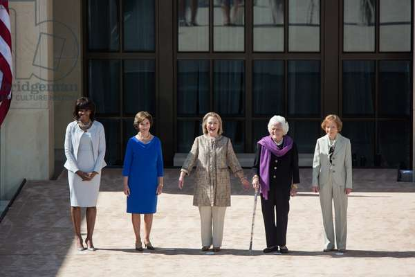 First Lady Michelle Obama poses with former First Ladies, April 25, 2013.
