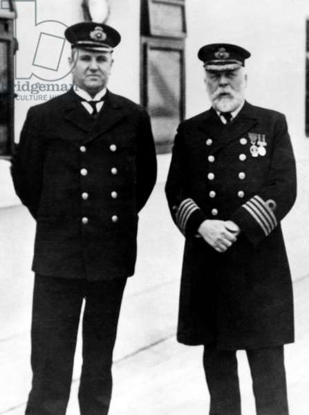 Captain Edward Smith (right), of the RMS Titanic, which sank after hitting an iceberg, 1912.