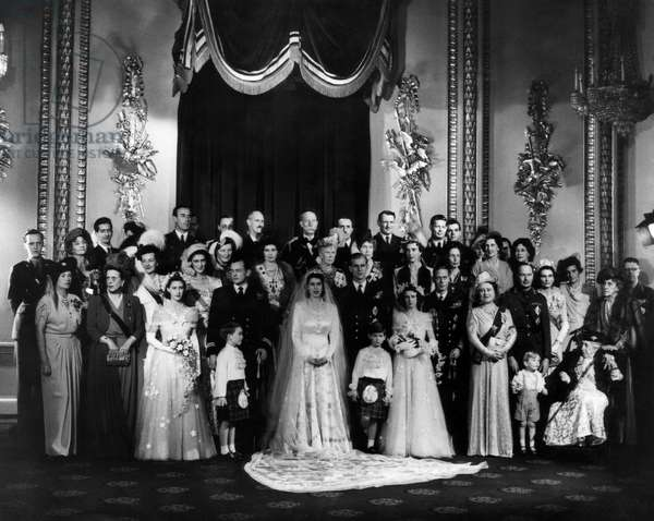 The marriage of Princess Elizabeth to Prince Philip: Front row: Princess Margaret (third from left), Princess Elizabeth (centre), Prince Philip, Princess Alexandra, King George VI, Queen Elizabeth, Buckingham Palace, London, November 20, 1947.
