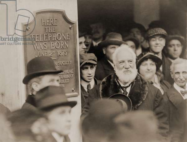 Alexander Graham Bell at the unveiling of a plaque commemorating the 1876 invention of the telephone, Boston, Mass., 1916