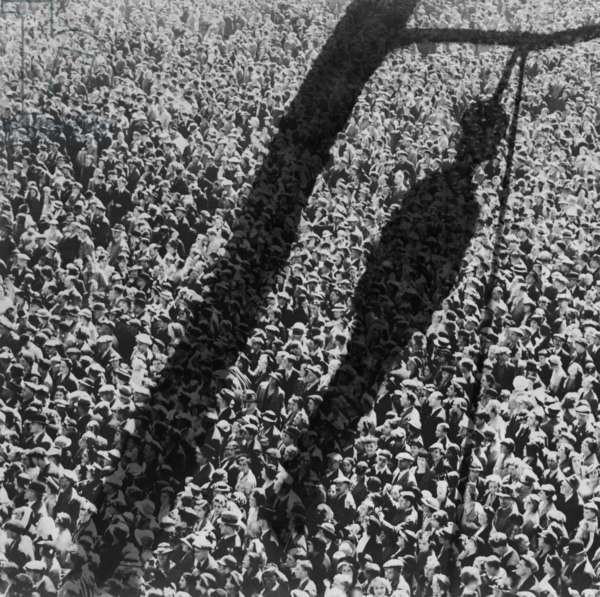 Lynching. The shadow of lynching painted over a crowd of white people. In the 1920 and 1930s, the NAACP created and distributed lynching-related images as part of a campaign to raise national awareness of violence against African-Americans. c. 1930s