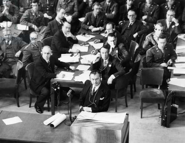 U.S. Prosecutor Robert H. Jackson (center) during the Krupp von Bohlen trial at Nuremberg, 1945