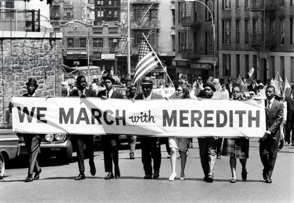 Demonstrators in the Bronx show their support for civil rights leader James Meredith after he was shot during his March Against Fear
