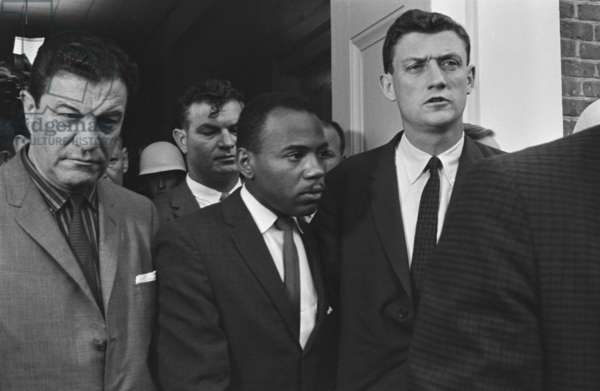 James Meredith accompanied by U.S. Marshals at the University of Mississippi. Oct. 1, 1952. His admission to the segregated college was accompanied by campus rioting and the death of two.