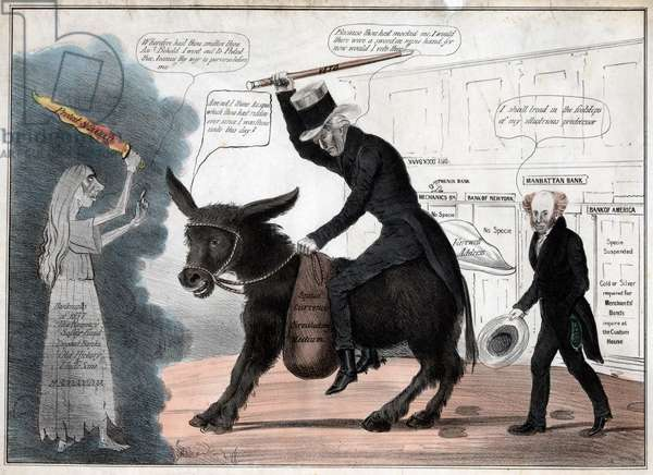 'The modern balaam and his ass', showing President Andrew Jackson riding the Democratic Party Donkey while President Martin Van Buren comments approvingly. Watercolored engraving, 1837