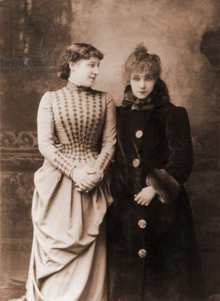 Sarah Bernhardt (1844-1923), French actress, with her English contemporary, actress Lillie Langtry. c. 1887