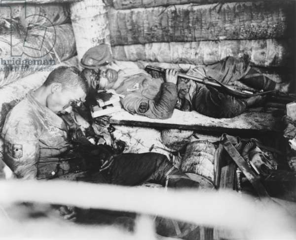 Two Japanese Imperial Marines who shot themselves rather than surrender to U.S. Marines. Nov. 20-23, 1943, Tarawa, Gilbert Islands. World War 2