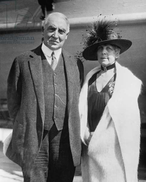President Warren Harding and his wife, Florence in 1923 portrait