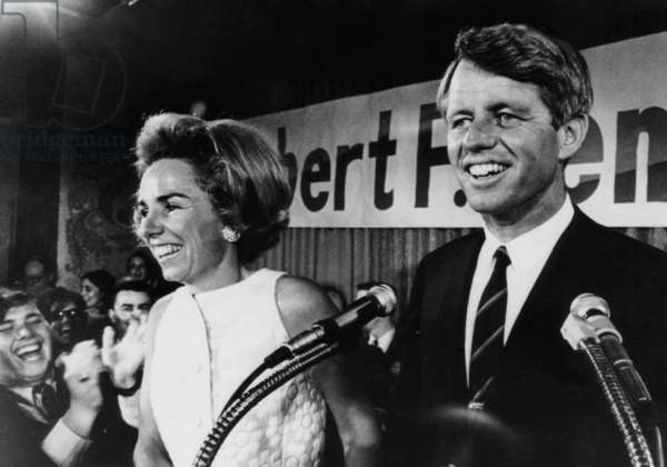 Ethel Kennedy, Robert F. Kennedy, at campaign headquarters after Indiana primary election victory for President, Indianapolis, Indiana, May 7, 1968.