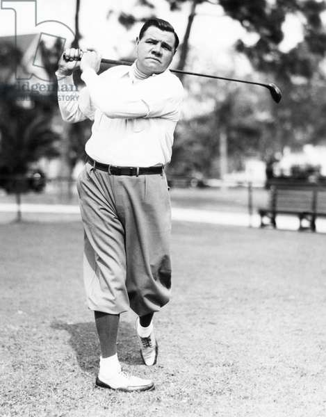 New York Yankees. Yankees outfielder Babe Ruth playing golf, c.early 1930s