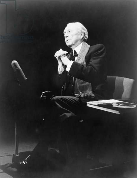Frank Lloyd Wright (1867-1959), in an expressive pose, during THE MIKE WALLACE INTEVIEW television program, 1957