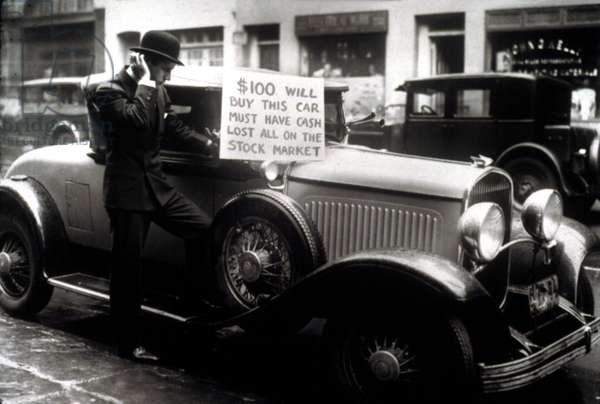 Man trying to sell his expensive car for  after being wiped out in the Stock Market Crash, 1929.