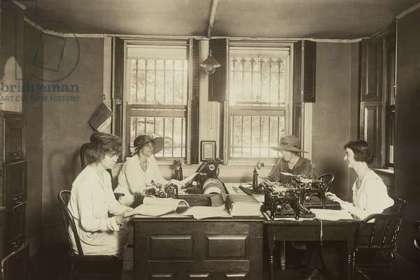 National Women's Party Press Room at their Washington. D.C. headquarters. Lead by Alice Paul, the NWP conducted increasingly militant protests demanding votes for women. c. 1915