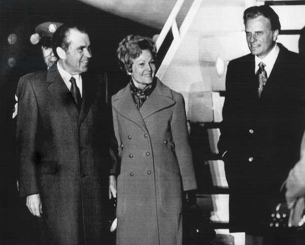 1972 US Presidency. From left: President Richard Nixon sees off First Lady Patricia Nixon and Christian evangelist Billy Graham as they fly to the inauguration of Liberian President William R. Tolbert Jr, 1972