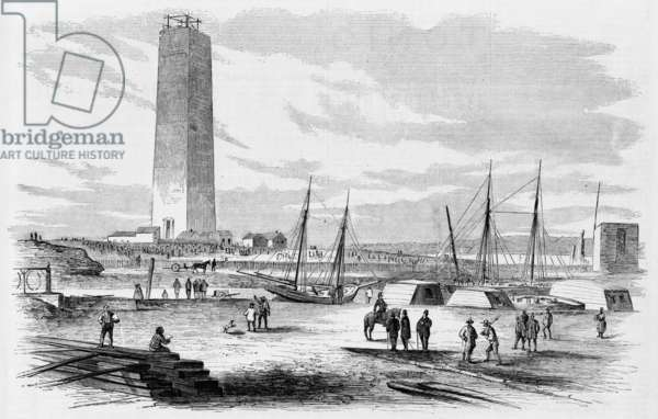 Washington Monument. Present condition of the Washington Monument, on the baseball ground, near the White House. 1874