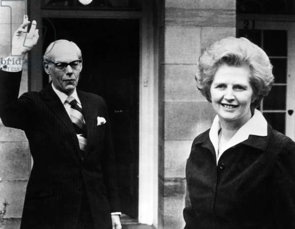 Margaret Thatcher (right), and her husband, Dennis Thatcher, c.1977