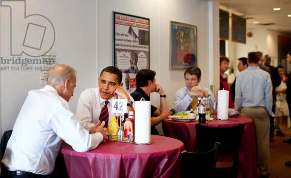 President Obama and VP Joe Biden wait for their lunch during a visit to Ray's Hell Burger in Arlington Virginia. May 5 2009. (BSWH_2011_8_64)