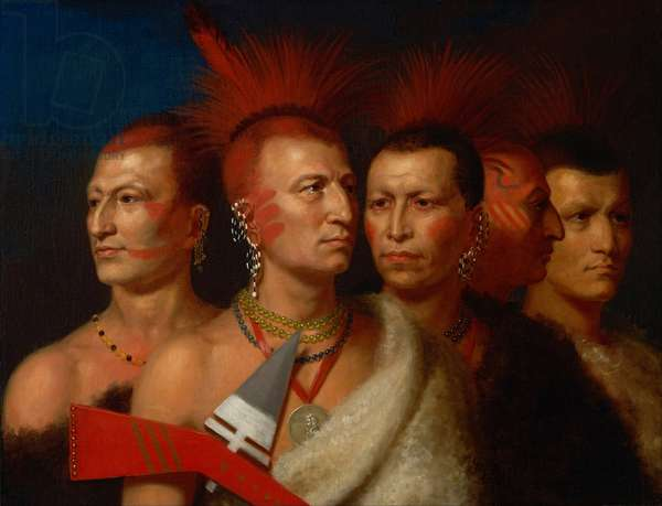 YOUNG OMAHAW, WAR EAGLE, LITTLE MISSOURI, AND PAWNEES, by Charles Bird King, 1821. Group portrait of four Plains Indian Chiefs were painted in King's studio when they were in Washington to negotiate land rights with the government. War Eagle wears a presidential medal. The group pose with a war ax, blood-red face paint, and eagle feathers (oil on canvas)