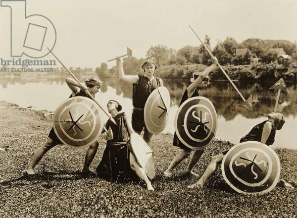 Young women in a tableau as ancient warriors perform at Seneca Falls, N.Y. seventy-fifth anniversary Equal Rights celebration on July 20, 1923. After the passage of the 19th Amendment granting women the right to vote, broad based feminist activist waned for forty years