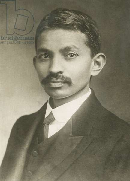 Mohandas Karamchand Gandhi, later known as Mahatma Gandhi, c. 1900 at age 30. In 1893 Gandhi traveled to South Africa to work lawyer for Muslim Indian Traders in Pretoria. He returned to India in 1914