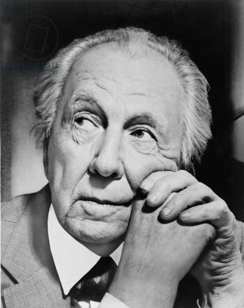 Frank Lloyd Wright (1867-1959), most important American architect of the later 19th and first half of the 20th century. 1954