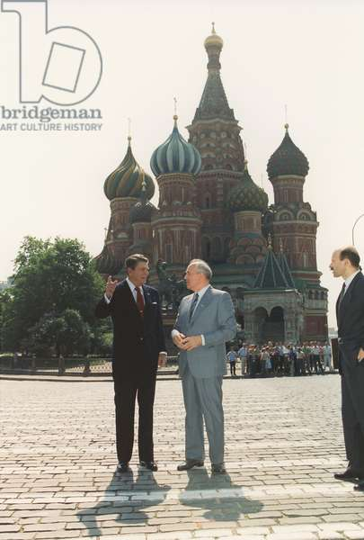 President Reagan and General Secretary Gorbachev in Red Square during the Moscow Summit of May 31 1988