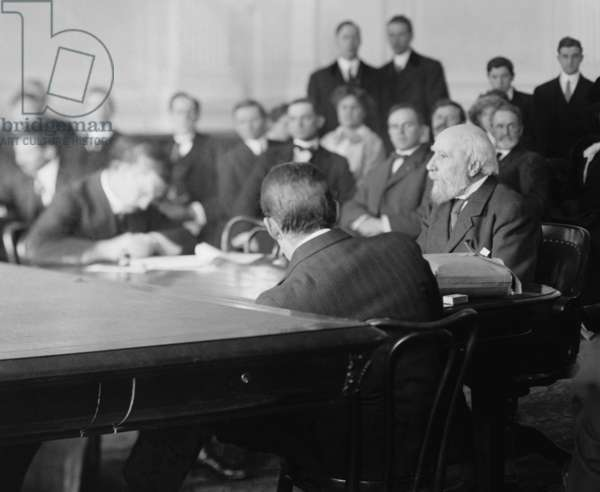 James J. Hill 1838 -1916 was an elderly white bearded man when he testified at the House of Representative special investigation of the U.S. Steel for anti-trust violations. January 12 1912