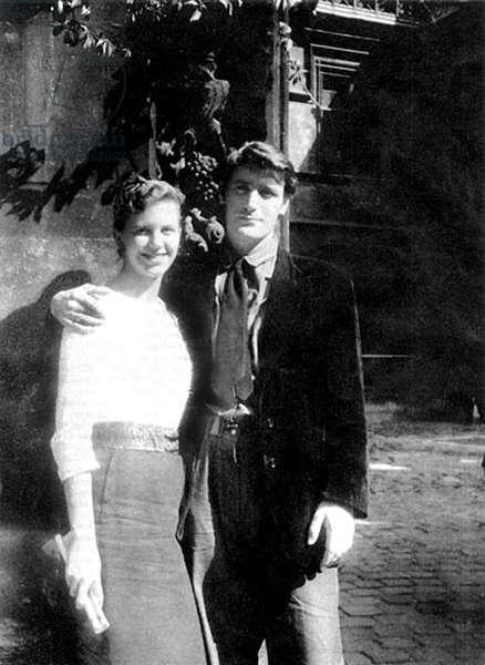 SYLVIA PLATH and TED HUGHES, on their honeymoon, Paris, 1956
