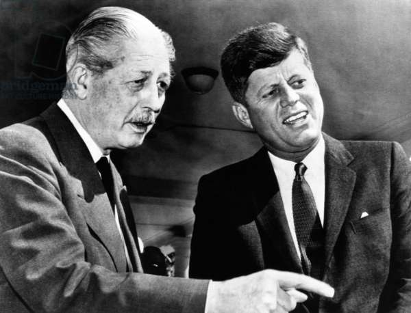 British Prime Minister Harold Macmillan meets with President John Kennedy in Washington. Macmillan was speaking with a group of descendants of Union Civil War Veterans who received the Congressional Medal of Honor. April 28, 1962