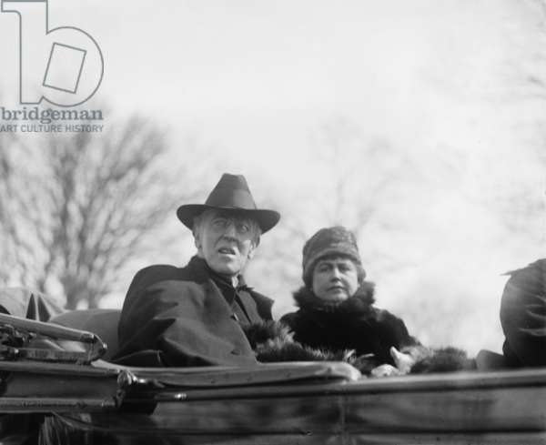 Woodrow Wilson (1856-1924) and his second wife, Edith Bolling Galt Wilson riding in an open carriage in Washington, DC. President Wilson shows the effects of a severe stroke he suffered the previous year on October 2, 1919