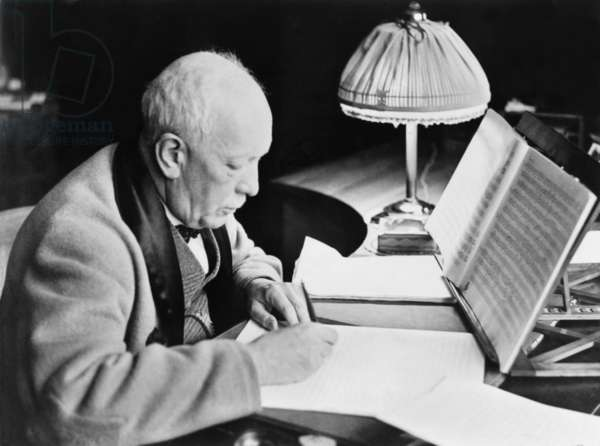 Richard Strauss (1864-1949), German composer writing music in his 80's. His final works were METAMORPHOSEN, an elegy for the losses of World War II, and VIER LETZTE LIEDER (FOUR LAST SONGS). c. 1948