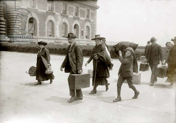 European immigrants arriving at Ellis Island, c. 1920, some of the last to enter after World War I, when the United States set national quotas greatly reducing immigration. 1920