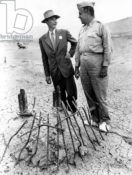 DR. J. ROBERT OPPENHEIMER, with Maj. Gen. Leslie R. Groves c. 1945