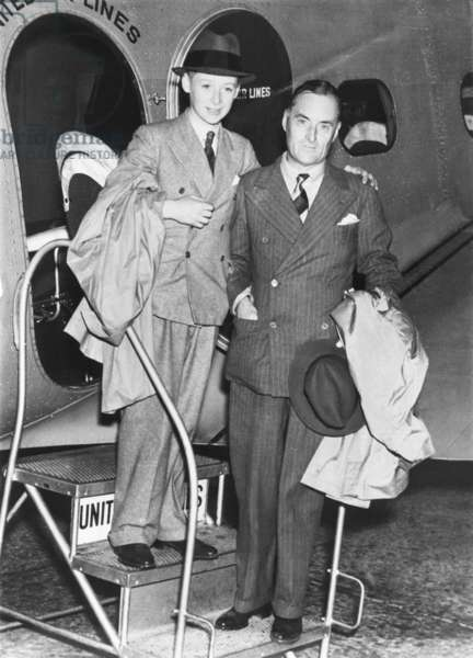 Sir Malcolm Campbell and his son Donald arrive in Salt Lake City. The elder Campbell set his final land speed record, 301.337 mph, in his 2,500-hp motor car Bluebird, on Utah's Bonneville Flats, Sept. 3, 1935. -