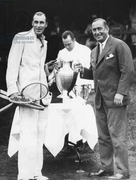 Bill Tilden receives trophy from Samuel Collum, after he won the Men's Singles Championship. Sept 15, 1929. Westside Tennis Club, Forest Hills, New York City. In the center background is Frank Hunter, who Tilden beat, 3-6, 6-2, 4-6, 6-2, 6-4