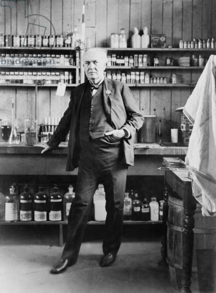 Thomas A. Edison (1847-1931), in his West Orange, New Jersey, laboratory, c. 1911
