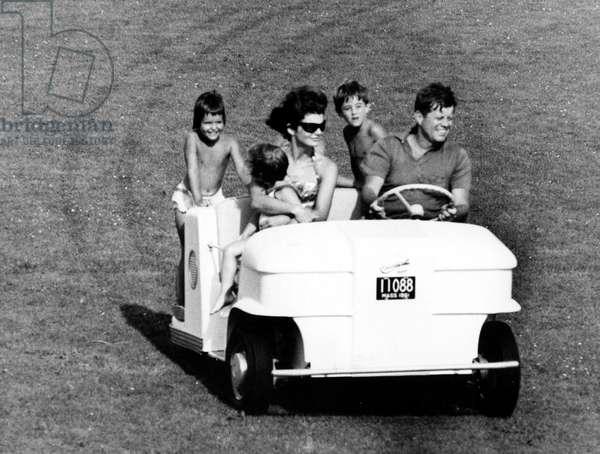President John F. Kennedy, wife, Jacqueline, Caroline, plus niece and nephew. Hyannis Port, MA, 12-18-1961.