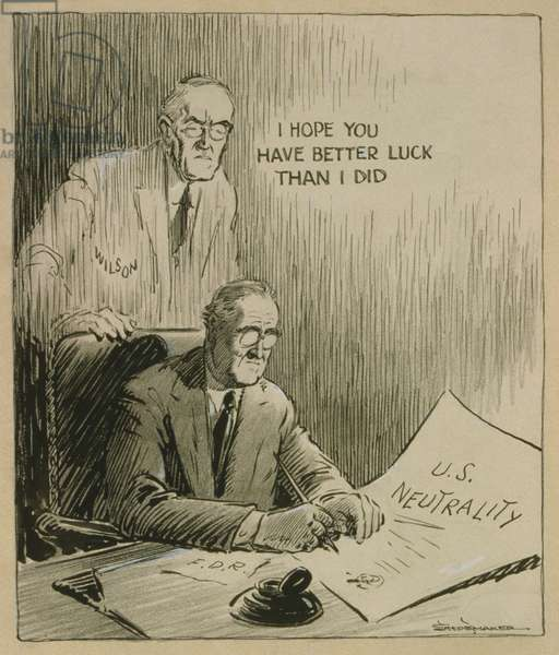 'Only a Generation Apart', 1935 cartoon, by Vaughn Shoemaker. As FDR signs the 1935 Neutrality Act, a vision of Woodrow Wilson says, 'I hope you have better luck than I did.'