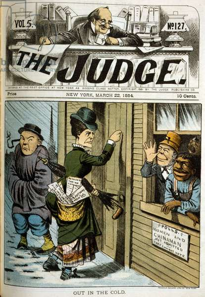 Out in the cold. Illustration of a woman and an immigrant Chinese man denied the right to vote; an Irish man and an African American man mock them from the polling place. chromolithograph, March 1884