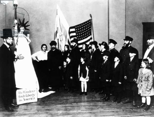 Golda Mabovitch (Meir) as the Statue of Liberty in the Young Poale Zion Pageant in Milwaukee. May 19, 1919. Her family emigrated from the Ukraine in 1906 when she was 8. Golda adopted Socialist Zionism in her early 20s