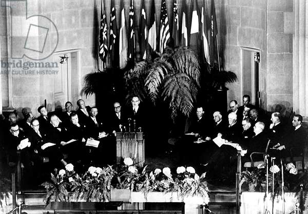 NATO, Secretary of the State Dean Acheson addressing the North Atlantic Treaty signing ceremony in Washington D.C., April, 1949