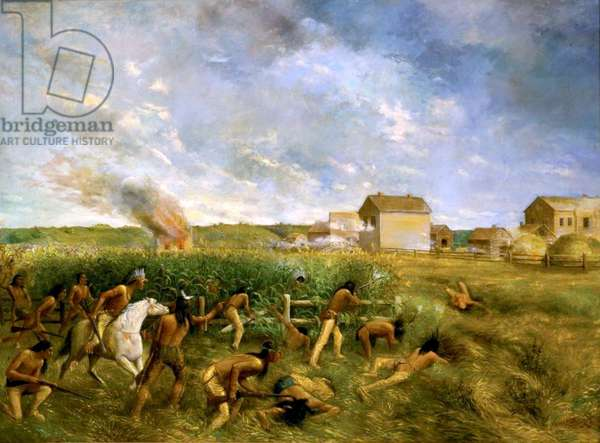 ATTACK ON NEW ULM, 1904, by Anton Gag, painting, oil on canvas. New Ulm was attacked twice during the Dakota War of 1862, on August 19-22, 1862. The town had enough warning to establish simple defenses against the unorganized attack of about 100 insurgent Native Americans (oil on canvas)